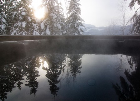 View form the hot tub in winter