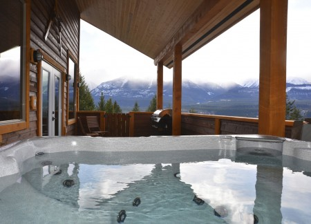 Covered deck with private hot tub