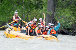 Cedar House Team rafting with Glacier Raft Co.